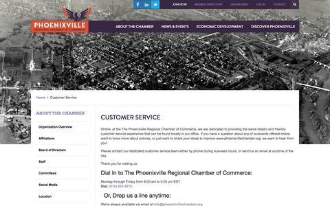 Screenshot of Support Page phoenixvillechamber.org - Customer Service - captured Nov. 1, 2014