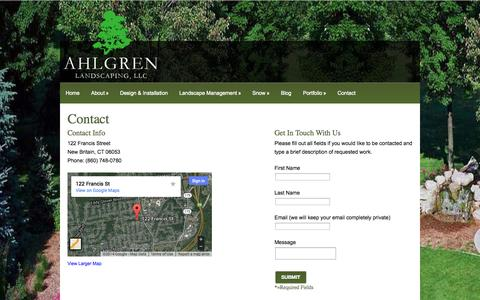 Screenshot of Contact Page ahlgrenlandscaping.com - Contact | Ahlgren Landscaping - New Britain ,CT - captured Sept. 30, 2014