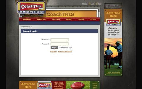 Screenshot of Login Page coachthis.com - Login :: CoachTHIS, Where Everyone Is A Coach - captured Sept. 30, 2014