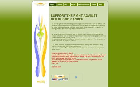 Screenshot of Home Page ccfcob.org - Home - Cancer Care for Children of Bethlehem - captured Sept. 26, 2014