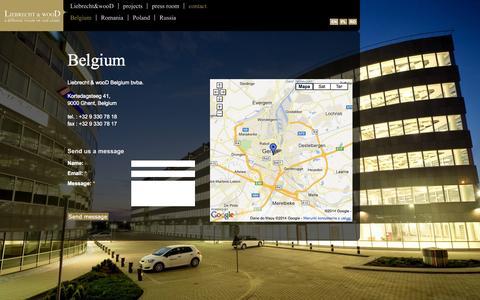 Screenshot of Contact Page liebrecht-wood.com - Belgium | Liebrecht & wooD - captured Oct. 2, 2014