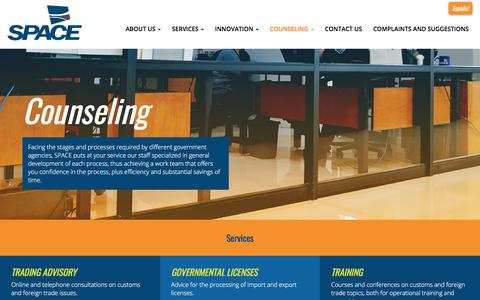Screenshot of Services Page spaceaduanas.com - • Services - captured Oct. 18, 2017