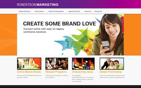 Screenshot of Home Page robertsonmarketing.com - :: Welcome to Robertson Marketing Group - Ecommerce - Fulfillment - Rewards - Loyalty -  Brand Merchandising - Roberston Marketing.::  - Home - captured Sept. 30, 2014