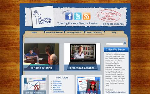 Screenshot of Home Page thecatutoringsolution.com - Tutoring For Your Needs • Passion For Education - The Tutoring Solution - captured Feb. 15, 2016