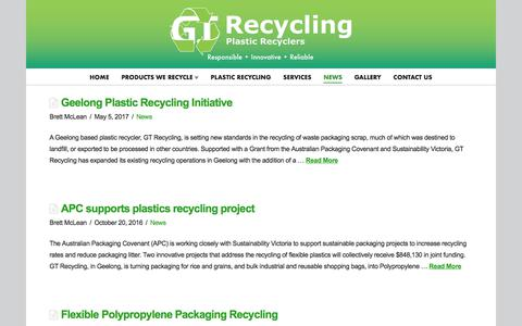 Screenshot of Press Page gtrecycling.com.au - News Archives - GT Recycling - captured July 12, 2017