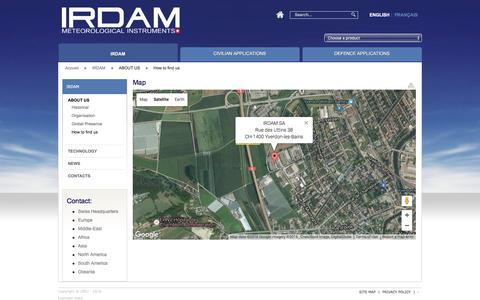Screenshot of Maps & Directions Page irdam.ch - Irdam SA - Sondes Météorologiques  Map | ABOUT U.S. We find | Weather Sensor IRDAM - captured Nov. 17, 2016
