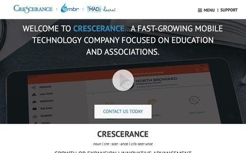 Screenshot of About Page crescerance.com - Mobile App Development Company | School Mobile Apps - captured May 23, 2017