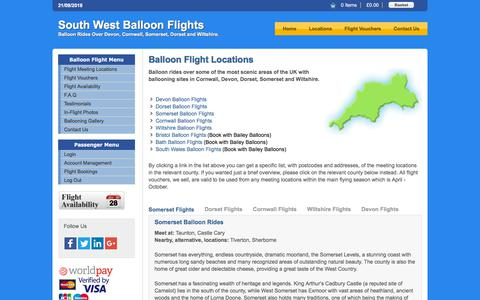 Screenshot of Locations Page southwestballoonflights.co.uk - Hot Air Balloon Flight Locations- Balloon Rides in Devon, Dorset, Somerset and Cornwall - captured Sept. 21, 2018