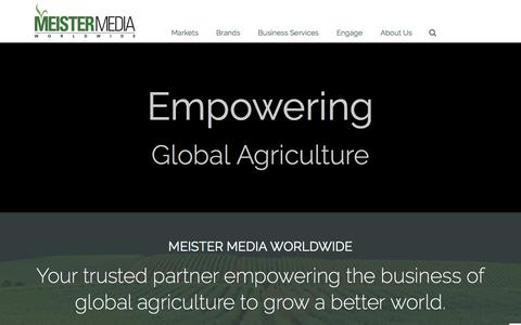 Screenshot of Home Page meistermedia.com - Meister Media Worldwide | Empowering Global Agriculture - captured Nov. 28, 2016