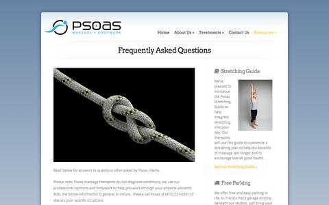 Screenshot of FAQ Page psoasbodywork.com - Frequently Asked Questions | Psoas Massage + Bodywork - captured Oct. 3, 2014