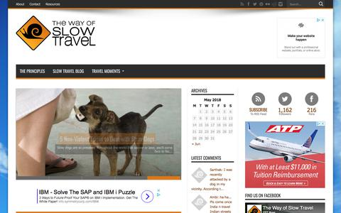 Screenshot of Home Page thewayofslowtravel.com - The Way of Slow Travel - captured May 22, 2018
