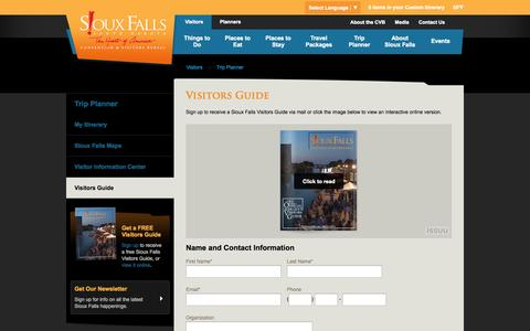 Screenshot of Signup Page visitsiouxfalls.com - Visitors Guide   Visit Sioux Falls - captured Oct. 26, 2014