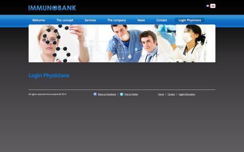 Screenshot of Login Page immunobank.com - Login Physicians | Immunobank - captured Sept. 30, 2014