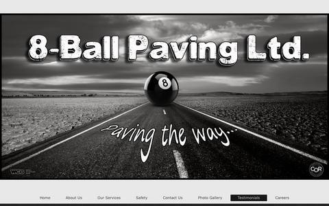 Screenshot of Testimonials Page 8ballpaving.com - 8-Ball Paving Ltd. - Testimonials - captured Nov. 7, 2017