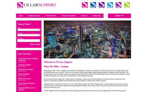 Screenshot of Home Page uslawsupport.co.uk - US Law Support Home - captured March 17, 2016