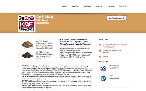 Screenshot of Products Page kdfft.com - KDF 55 and 85 Process Media for Chlorine, Bacteria, and Algae Removal from Water - captured Oct. 6, 2014