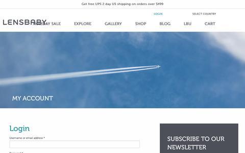 Screenshot of Login Page lensbaby.com - My Account | Creative Effect Camera Lenses | Lensbaby - captured Dec. 8, 2018