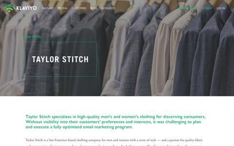 Screenshot of Case Studies Page klaviyo.com - Klaviyo Case Study: Taylor Stitch Takes Segmentation to the next Level - Klaviyo - captured Jan. 8, 2019