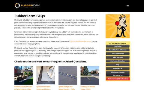 Screenshot of FAQ Page rubberform.com - FAQs  | RubberForm® Recycled Products, LLC. - captured Sept. 26, 2018
