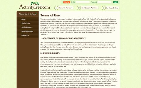 Screenshot of Terms Page activitytree.com - Kids Classes, Lessons & Camps | Terms of Use - captured July 2, 2017