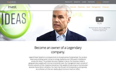 Screenshot of Press Page Team Page legendpower.com - Invest - Legend Power Systems Inc. - captured Nov. 4, 2018