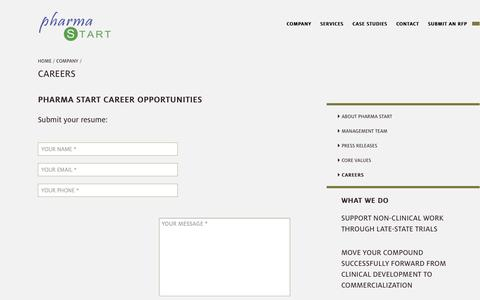 Screenshot of Jobs Page pharma-start.com - Careers | Pharma Start - captured Sept. 29, 2014