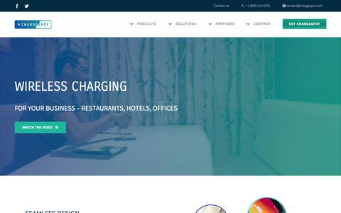 Screenshot of Home Page chargespot.com - ChargeSpot - Wireless Charging Solutions - captured Jan. 27, 2016