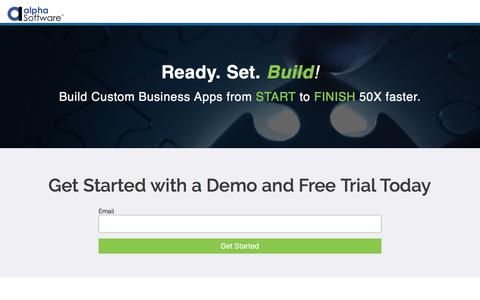 Screenshot of Trial Page alphasoftware.com - Get Started with Alpha Anywhere - captured Feb. 23, 2018