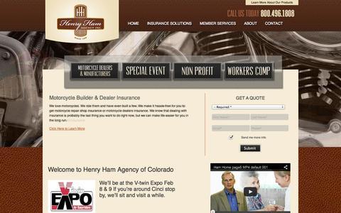 Screenshot of Home Page henryham.com - Henry Ham Agency | Colorado Insurance | Denver Insurance Agency - captured Oct. 2, 2014
