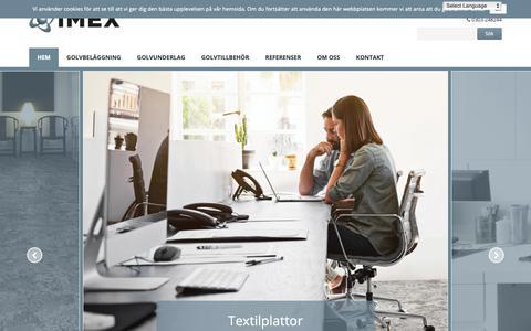 Screenshot of Home Page imexsweden.se - IMEX Golvprodukter - Textilplattor | Golvunderlag | Golvakustik - captured Oct. 1, 2018