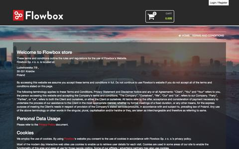 Screenshot of Terms Page flowbox.io - Terms and Conditions – Flowbox Shop - captured July 13, 2018
