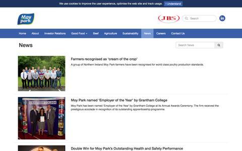 Screenshot of Press Page moypark.com - News - Moy Park - captured Aug. 22, 2016