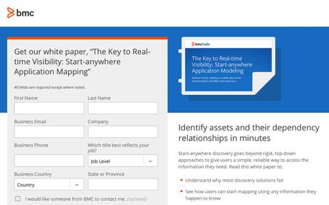Screenshot of Landing Page bmc.com - The Key to Real-time Visibility: Start-anywhere Application Mapping - BMC Software - captured Dec. 14, 2019