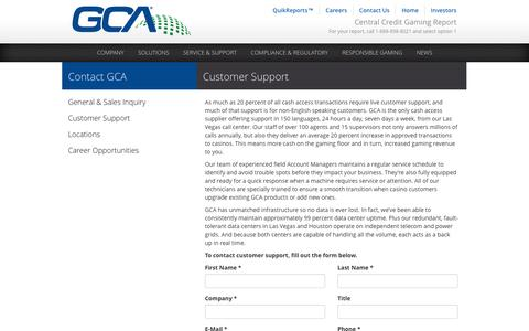 Screenshot of Contact Page gcainc.com - Customer Support - captured Oct. 2, 2014