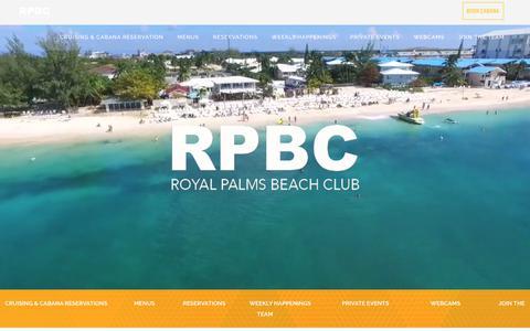 Screenshot of Home Page royalpalmscayman.com - Royal Palms | Oceanfront dining, dancing and fun. - captured April 24, 2018
