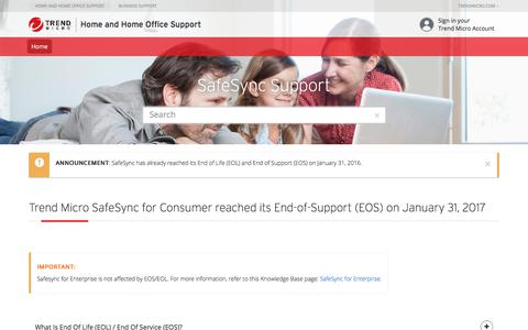 SafeSync Support - Trend Micro SafeSync for Consumer reached its End-of-Support (EOS) on January 31, 2017 -  Home and Home Office Support | Trend Micro