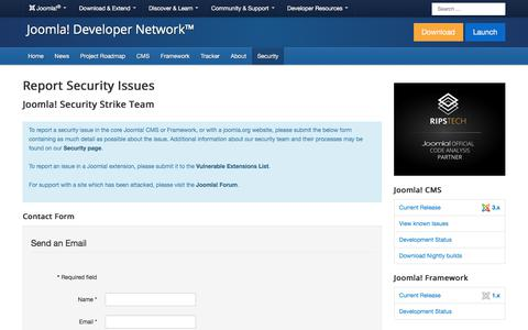 Screenshot of Team Page joomla.org - Contact the Security Team - captured Nov. 6, 2019