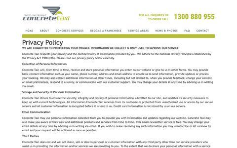 Screenshot of Privacy Page concretetaxi.com - Privacy Policy - Concrete TaxiConcrete Taxi - captured Sept. 29, 2018