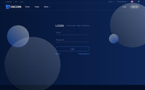 Screenshot of Login Page okcoin.com - Login - The Leading Global Bitcoin Exchange   OKCoin.com - captured Sept. 21, 2018
