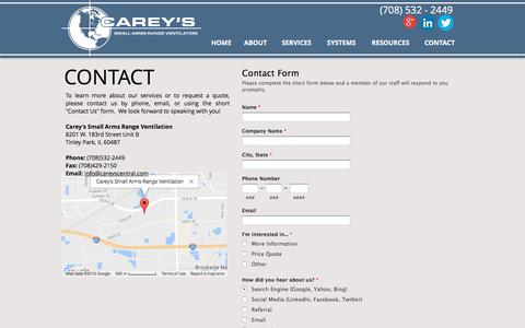 Screenshot of Contact Page careyscentral.com - Carey's Small Arms Range Ventilation | Gun range ventilation leaders | CONTACT - captured Oct. 16, 2016