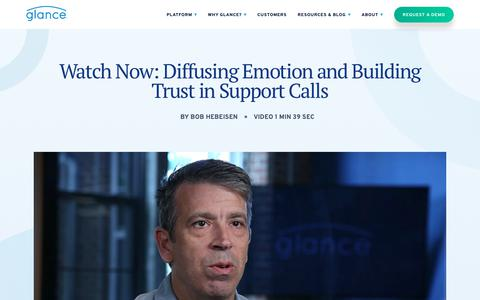Screenshot of Support Page glance.net - Diffusing Emotion and Building Trust in Support Calls – Glance Networks Inc - captured Jan. 3, 2020