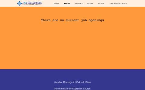 Screenshot of Jobs Page northminster.us - Northminster Presbyterian Church | Jobs - captured July 10, 2018