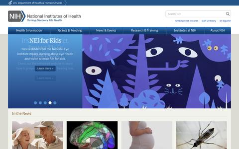 Screenshot of Home Page nih.gov - National Institutes of Health (NIH) | Turning Discovery Into Health - captured Aug. 19, 2016