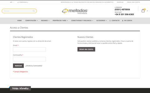Screenshot of Login Page metodosinformatica.com - Métodos Informática - Tú Mayorista Distribuidor Acceso a Clientes Métodos Informática - Tú Mayorista Distribuidor - captured Oct. 18, 2018