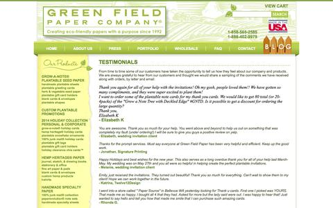 Screenshot of Testimonials Page greenfieldpaper.com - Testimonials - Green Field Paper Company - captured Oct. 3, 2014