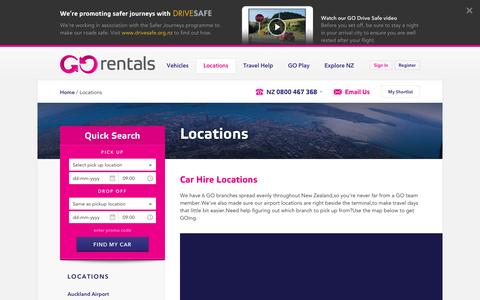 Screenshot of Locations Page gorentals.co.nz - Rental Car Locations NZ - Car Hire NZ - Go Rentals - captured May 4, 2017