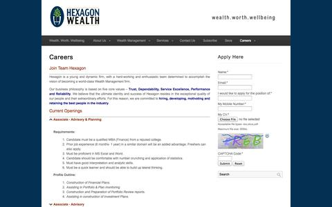 Screenshot of Jobs Page hexagonwealth.com - Careers : Hexagon Wealth - captured Oct. 2, 2014