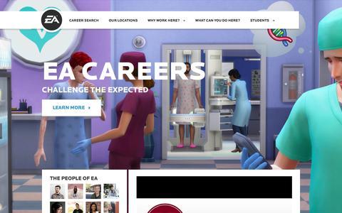 Screenshot of Jobs Page ea.com - Home | EA Careers - captured Feb. 12, 2016