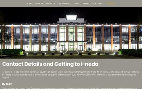 Screenshot of Contact Page i-neda.com - Contact i-neda, Farnborough Business Park, Farnborough, Hampshire. - captured Oct. 1, 2018