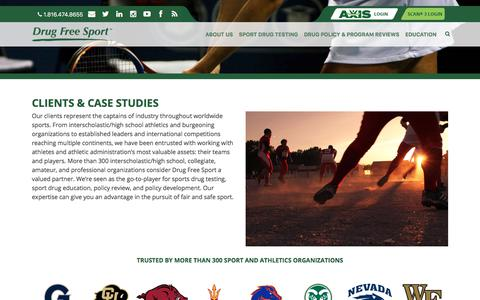 Screenshot of Case Studies Page drugfreesport.com - Clients & Case Studies | Drug Free Sport - captured Oct. 23, 2017
